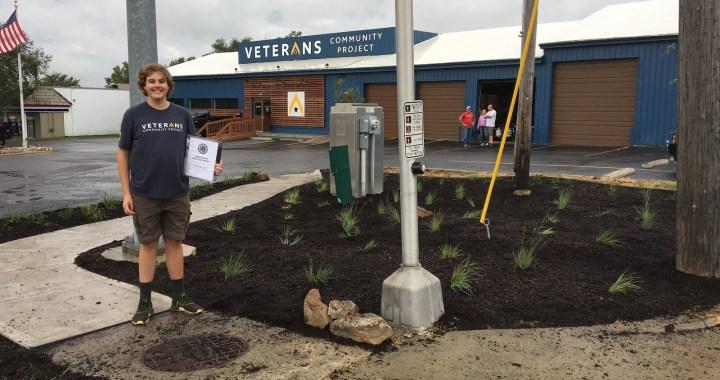 Eagle Scout beautifies Veterans Community Project lot
