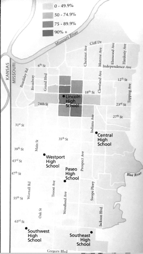 Kansas City's African-American population in 1940. Image courtesy of James Shortridge's book Kansas City and How It Grew.