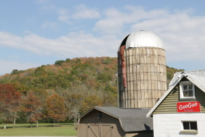 silo and hillside at Fontanel fall colors