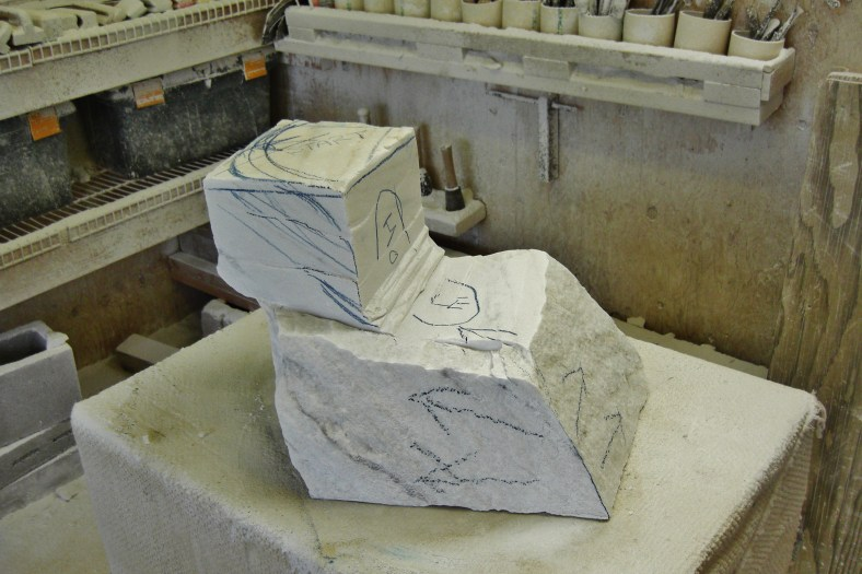 Swan Wave, Hand Carved Marble Bowl in the Rough @ martincooney.co