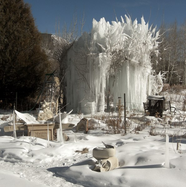 Day 10 January 17 2013 Ice Palace 011713 / Sea Monster Sundial Guards The Ice Palace in the Sculpture Garden @ martincooney.com