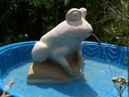 Solar Frog Fountain, Kansas Creme Limestone Sculpture by Martin Cooney