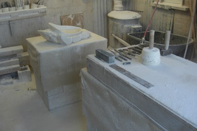 Studio Workshop, Work in Progress, The Maiden Collection, Colorado Yule Marble Sculpture by Martin Cooney