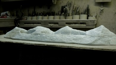 'Mountains of Moab', studio workshop, 1314 Winter Collection, Colorado Yule Marble Sculpture by Martin Cooney