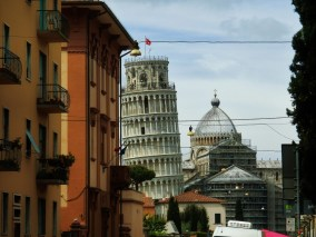 First Glimpse of The Leaning Tower of Pisa, Italy, on the North West Tuscan Way by Martin Cooney