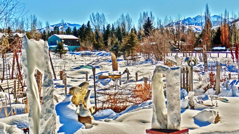 Oblique Perspective right, Three Faces center, Snowgoyles left, Standing Stone Circle, Woody Creek CO.