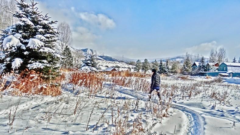 Kris Cooney takes to the Sculpture Garden Snow Shoe Trail
