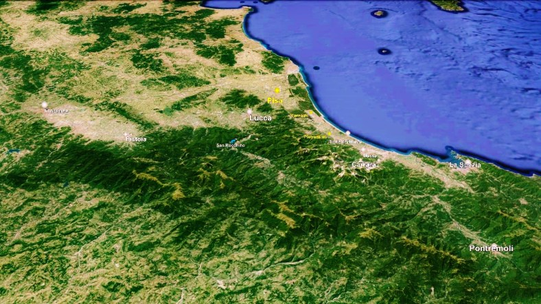 The North West Tuscan Way, Map 3 Pisa, Google Earth,