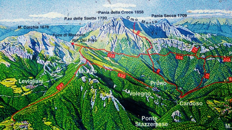 Trail Map, On the Road to Forte dei Marmi Hostel, The North West Tuscan Way, by Martin Cooney
