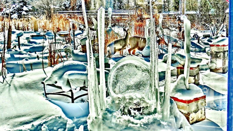 Deer Family visit The Winter of 1516 Ice Basilica by Martin Cooney