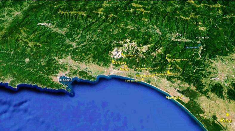 Carrara Marble Quarries Carrara Map 2 Google Earth