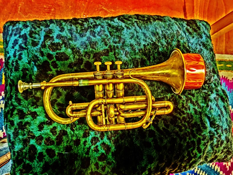 """Bresson Brevette, solid brass, Harmon """"wow-wow"""" Mute. Much prized cornet of Martin Cooney."""