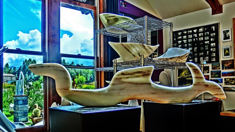Nessie, Adam, Titanic, Sailboat Tempest, Colorado Yule Marble Sculpture by Martin Cooney.