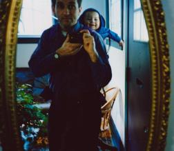 Martin Cooney takes his first ever selfie, with son Joseph, Portland, Oregon