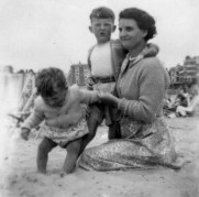 Martin Cooney, with mother Ruth and brother Michael, family holiday, England, UK