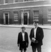 Martin Cooney with brother Michael outside Number 10 Downing Street, London, England, UK