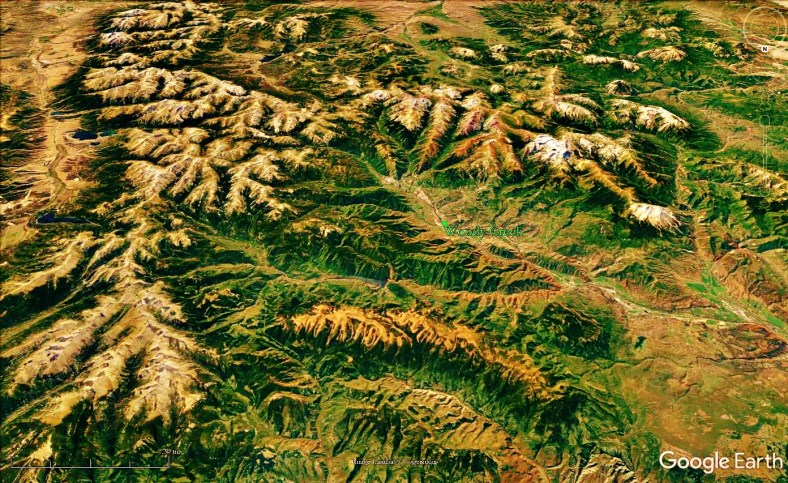 Looking down the Continental Divide, Colorado Rocky Mountains and Woody Creek from space