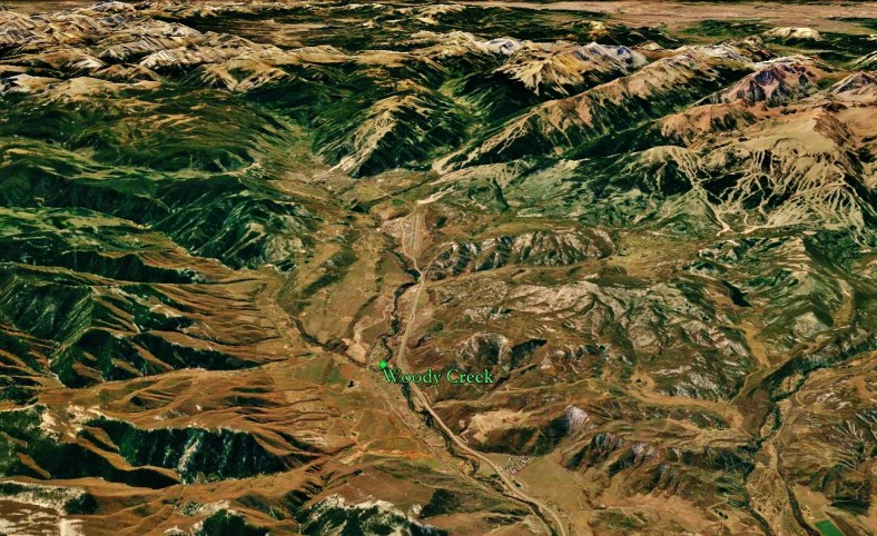 The Roaring Fork Valley and Woody Creek from Space, map
