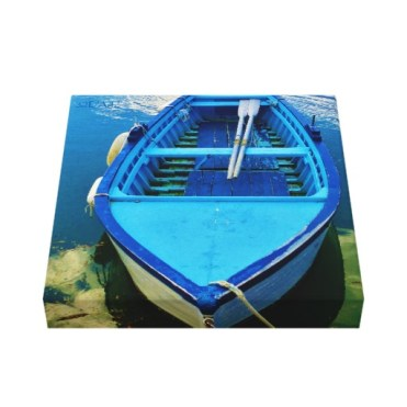 Blue Italian Rowing Boat, Wrapped Canvas Print, 10 x 10, up