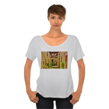 Castello di Malgrate Village Courtyard, Women, Bella Flowy Simple TShirt, Front, Model, Marble