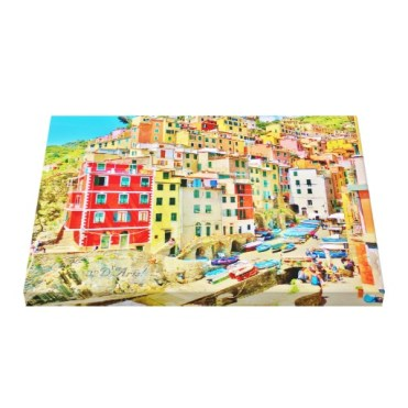 Cinque Terre Fishing Village Wrapped Canvas Print, 24 x 18, up