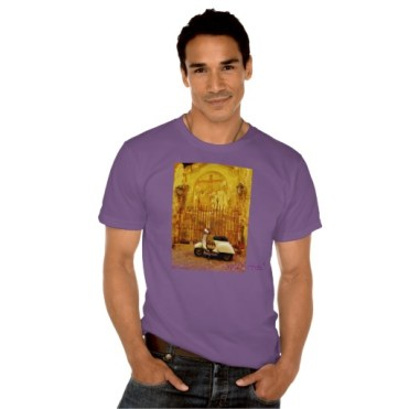 Lucca Alleyway Scooter, Men, American Apparel Organic T-Shirt, Front,Model, Ultra Violet
