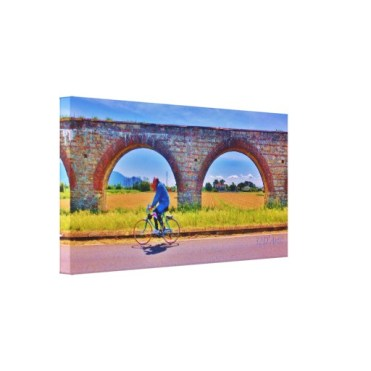 Luccan Aqueduct Road Bicycle, Wrapped Canvas Print, 26 x 13.5, left