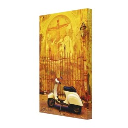 Parked Vespa Donation Box, Lucca, Wrapped Print, 15 x 23, right