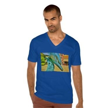Soaring Dolphin Plaza Dolphin, Men, American Apparel Fine Jersey V-neck T-Shirt, Front, Model, Navy Blue