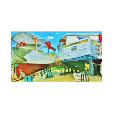 Tuscan Coast Dry Docked Boats, Wrapped Print, 22 x 12, center
