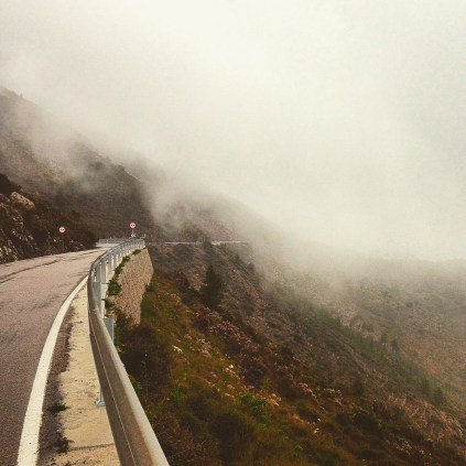 Highly reduced visibility going up the Col de Rates