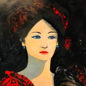 La dame aux yeux lagons acrylique 50x50
