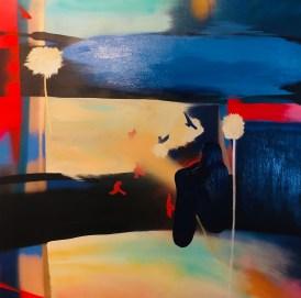 soirée d'été en côte atlantique 2 acrylique sur toile 100x100
