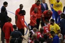 Golden State Warriors vs Houston Rockets Game 6 Cris Paul coaching up the team Photos by Tod Fierner Martinez News-Gazette