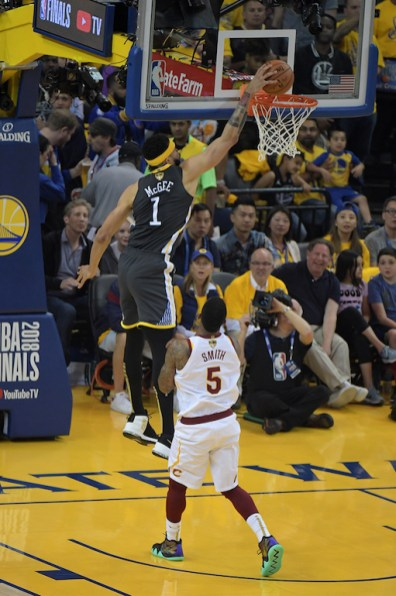 Golden State Warriors vs Cleveland Cavaliers JaVale above the rim Game Two NBA Finals Photos by Gerome Wright (Martinez News-Gazette)