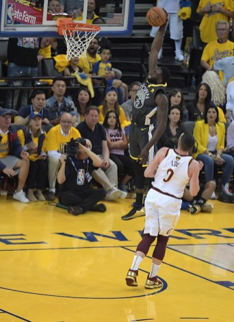 Golden State Warriors vs Cleveland Cavaliers Draymond Green big time slam Game Two NBA Finals Photos by Gerome Wright (Martinez News-Gazette)