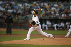 Oaklands A's vs LA Dodger's #50 RHP Mike Fiers Photos by Tod Fierner ( Martinez News-Gazette )