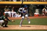Oakland Athletics vs Toronto Blue Jay's #55 Catcher Russell Martin hits 8th inning home run A's win 8-3 Photos by Tod Fierner ( Martinez News-Gazette )