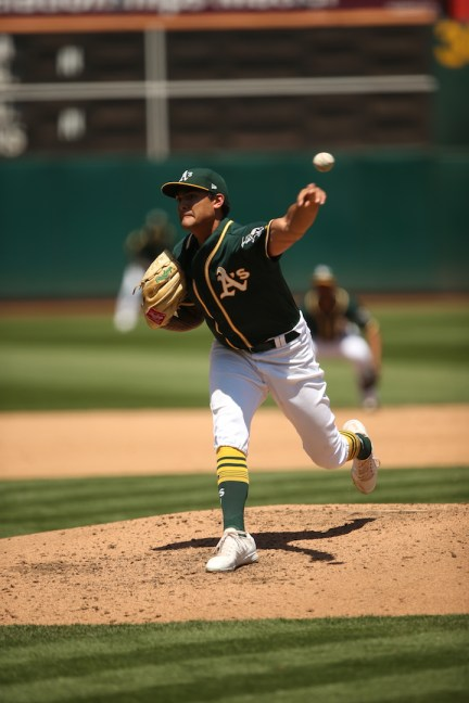 Oakland Athletics vs Toronto Blue Jay's Winning Pitcher #55 Sean Manaea A's win 8-3 Photos by Tod Fierner ( Martinez News-Gazette )