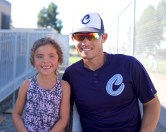 Martinez Clippers Fanfests Clippers CF Devin Carter with fan Addy Fierner Photo by Mark Fierner ( Martinez News-Gazette )