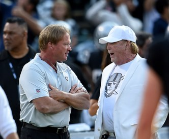 Oakland Raiders vs Detroit Lions Jon Gruden with owner of the Raiders Mark Davis Photos by Gerome Wright ( Martinez News-Gazette )