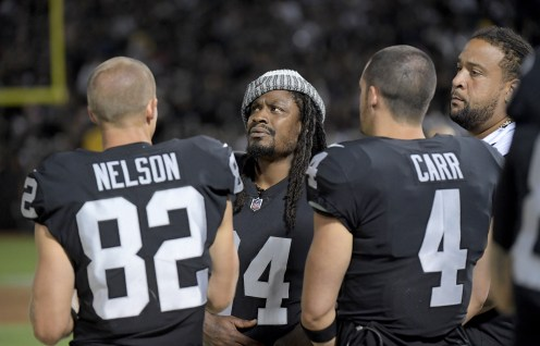 Oakland Raiders vs Detroit Lions #24 RB Marshawn Lynch,#82 WR Jordy Nelson & #4 Derek Carr Photos by Gerome Wright ( Martinez News-Gazette )