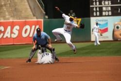Oakland A's vs New York Yankees A's SS #10 Marcus Semien #26 RF Andrew McCutchen Photos by Tod Fierner ( Martinez News-Gazette )