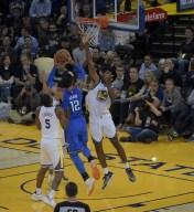 Golden State Warriors vs Oklahoma City Thunder #15 C. Damian Jones Photos by Gerome (Martinez News-Gazette)