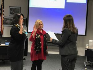 MUSD Boardmembers Deidre Siguenza and Bobbi Horack take the oath of office from Lynn Mackey
