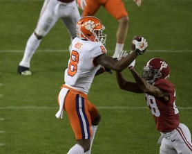 2019 NCAA National Championship Game Clemson Tigers vs Alabama Crimson Tide #8 Fr.WR Justyn Ross Photos by Gerome Wright