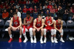 Saint Mary's Gaels vs San Diego Toreros Gaels Starting Five Hunter, Fitts, Krebs, Kuhse & Ford Photos by Tod Fierner (MTZ Gazette)