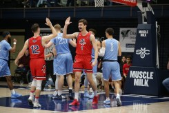 Saint Mary's Gaels vs San Diego Toreros #12 Tommy Kuhse high fives Jordan Hunter Photos by Tod Fierner (MTZ Gazette)