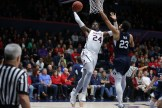 Saint Mary's Gaels vs BYU Cougars #24 Forward Malik Fitts. One hand slam Photos by Tod Fierner (Saint Mary's College)