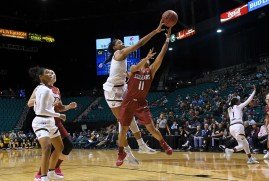 March 07, 2019 :LAS VEGAS, NV, United States:California Golden Bears center Kristine Anigwe (31) blocked Washington State Cougars guard Chanelle Molina (11) in the 3rd quarter to finished the game with 200 career blocked shots against the Washington State University at MGM GRAND GARDEN ARENA. Cal defeated WSU 77-58. Credit: Gerome Wright